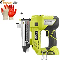 Ryobi 18-Volt ONE+ AirStrike 23-Gauge Cordless Pin Nailer P318 and Toucan City Nitrile Dip Gloves(5-Pack)