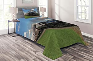 Ambesonne Steam Engine Coverlet, Vintage Locomotive in Countryside Scenery Green Grass Puff Train Picture, 2 Piece Decorative Quilted Bedspread Set with 1 Pillow Sham, Twin Size, Blue Green