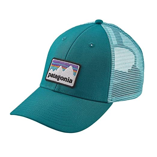 09bf398fa0d Amazon.com  Patagonia Shop Sticker Patch LoPro Trucker Hat (Elwha Blue)   Sports   Outdoors
