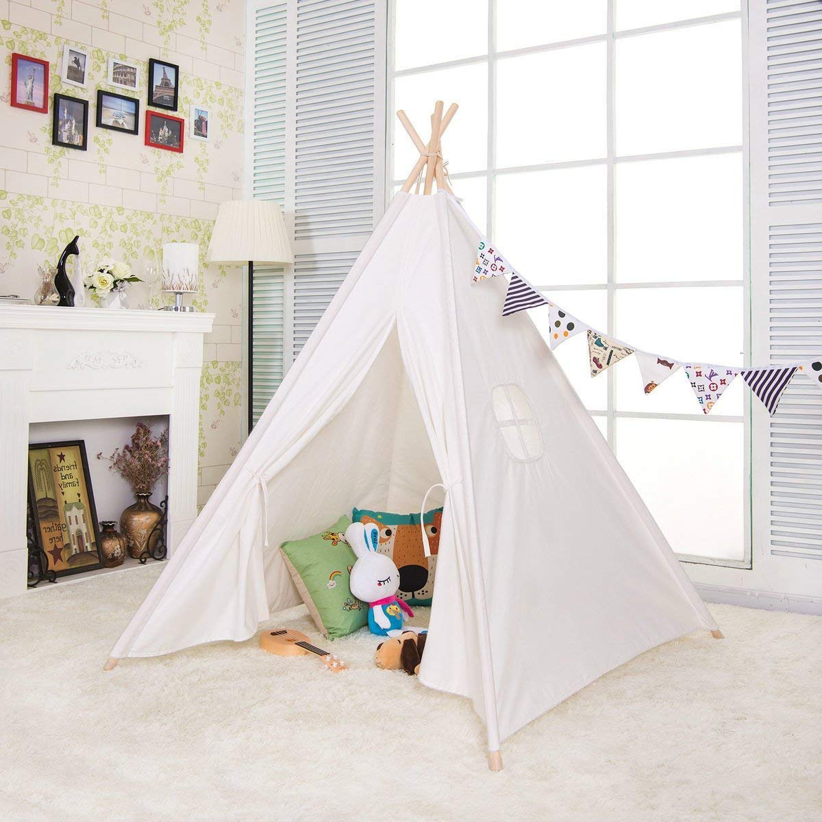 Sumbababy Teepee Tent for Kids Girls Play Tents for Girl or Boy Foldable Children Playhouse Toys for Baby Indoor and Outdoor Playing,100/% Natural Cotton Canvas Child Tipi with Carry Bag