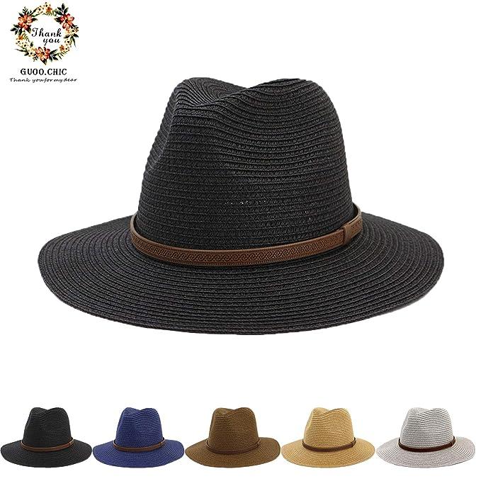 97e8305cb2176 Women Straw Panama Foldable Roll up Hat Fedora Beach Sun Hat UPF50+ ...