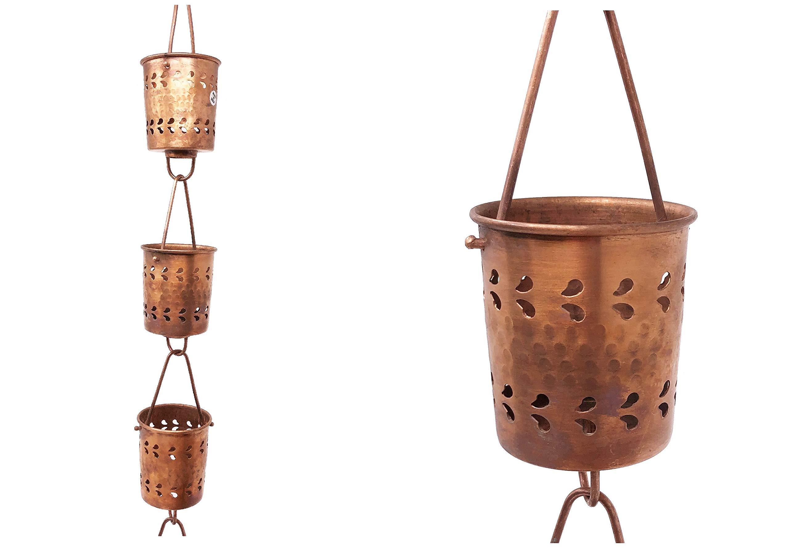 U-nitt 8-1/2 feet Pure Copper Rain Chain for Gutter: Cylinder Florence Cup 8.5 ft Length #5559