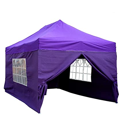 the best attitude 0edd7 e4558 DELTA Canopies 10'x15' Ez Pop Up Canopy Party Tent Instant Gazebos 100%  Waterproof Top with 4 Removable Sides Purple - E Model