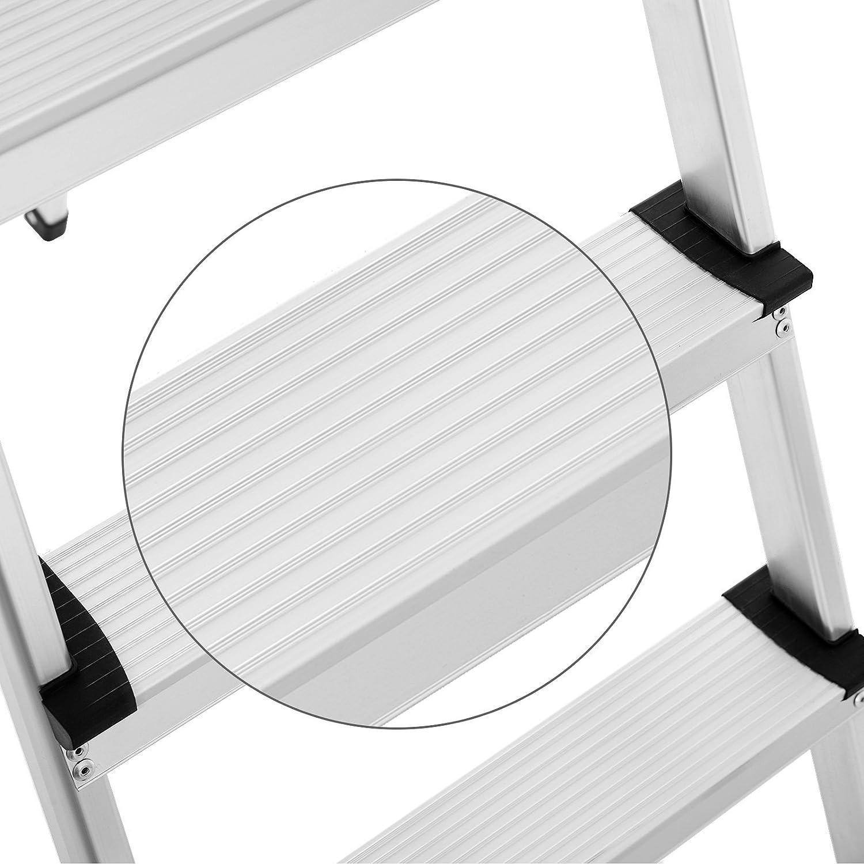 rutschfeste Stehleiter GLT05BS T/ÜV S/ÜD GS gepr/üft nach EN131 haushaltsleiter bis 150 kg belastbar inklusive Ablageschale SONGMICS leiter 5 stufen
