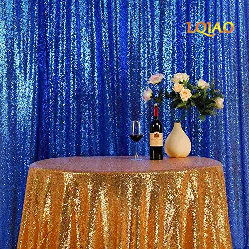 LQIAO New Arrival Royal Blue Sequin Backdrop Background 8FTx8FT,Sequin Curtain Backdrop Photo Booth Wedding Props Glitter Party Background Decorations, Pocket 8x8FT(240x245cm)