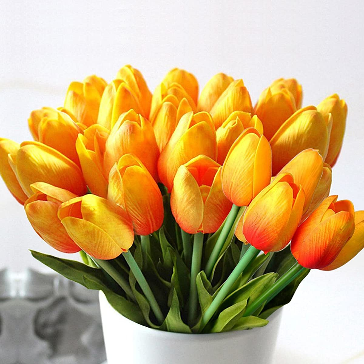 StillCool Artificial Flowers Tulip 12pc/set Pu Stunning Holland Mini Tulip Real Touch Wedding Flower Artificial Flowers Latex Plants for Party Home Hotel Event Christmas Gift Decoration (Orange)