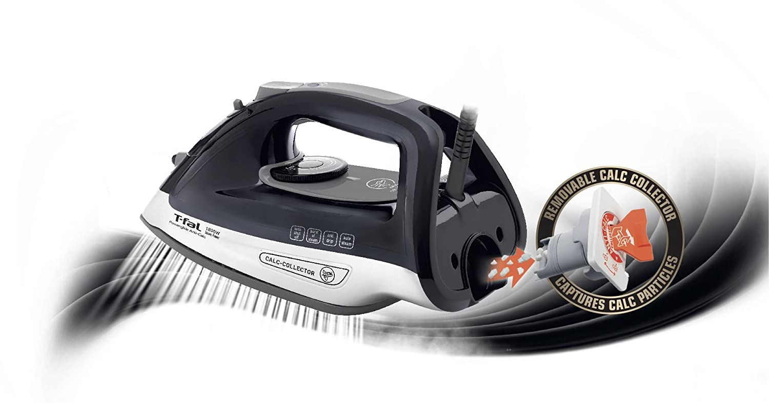 Medium Groupe SEB 2820449510 T-fal FV4495 Ultraglide Easycord Steam Iron Ceramic Scratch Resistant Non-Stick Soleplate with Auto-Off and Anti-Drip System Black 1725-Watt