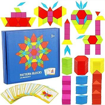 KanCai Tangram Infantil Juguetes Montessori De Madera 155 PCS Jigsaw Puzzle, Niños Wood Rompecabezas Juego DIY Geométrico Matematicas Material Montessori: Amazon.es: Juguetes y juegos