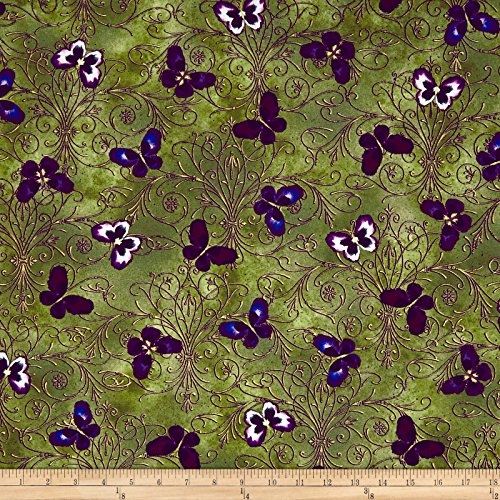 Benartex 0567557 Kanvas Noir Pansy Butterfly Scroll Olive Fabric by The Yard