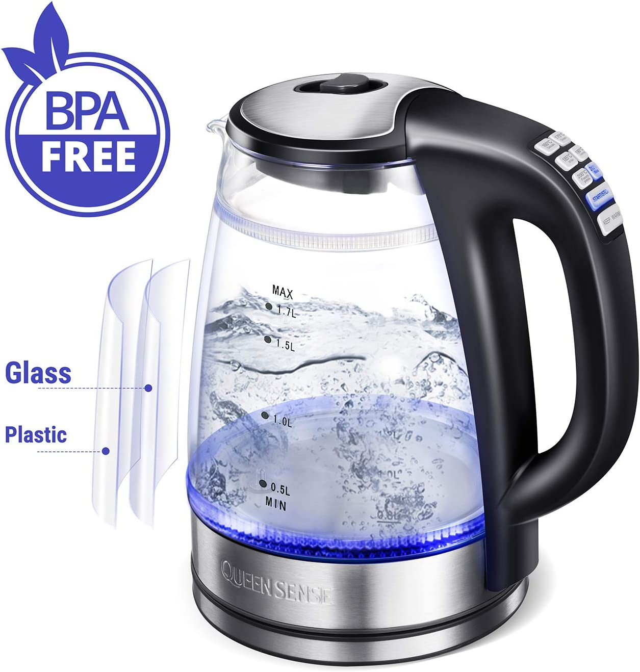 Electric Tea Kettle with Temperature control, Double Wall Glass 1.7L Cordless Hot Water Kettle Electric with Keep Warm, 1500W Fast boiler with Blue LED, BPA Free, Auto Shut-Off, Boil-Dry Protect