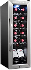 Ivation 12 Bottle Compressor Wine Cooler Refrigerator w/Lock | Large Freestanding Wine Cellar For Red, White, Champagne or Sparkling Wine | 41f-64f Digital Temperature Control Fridge Stainless Steel