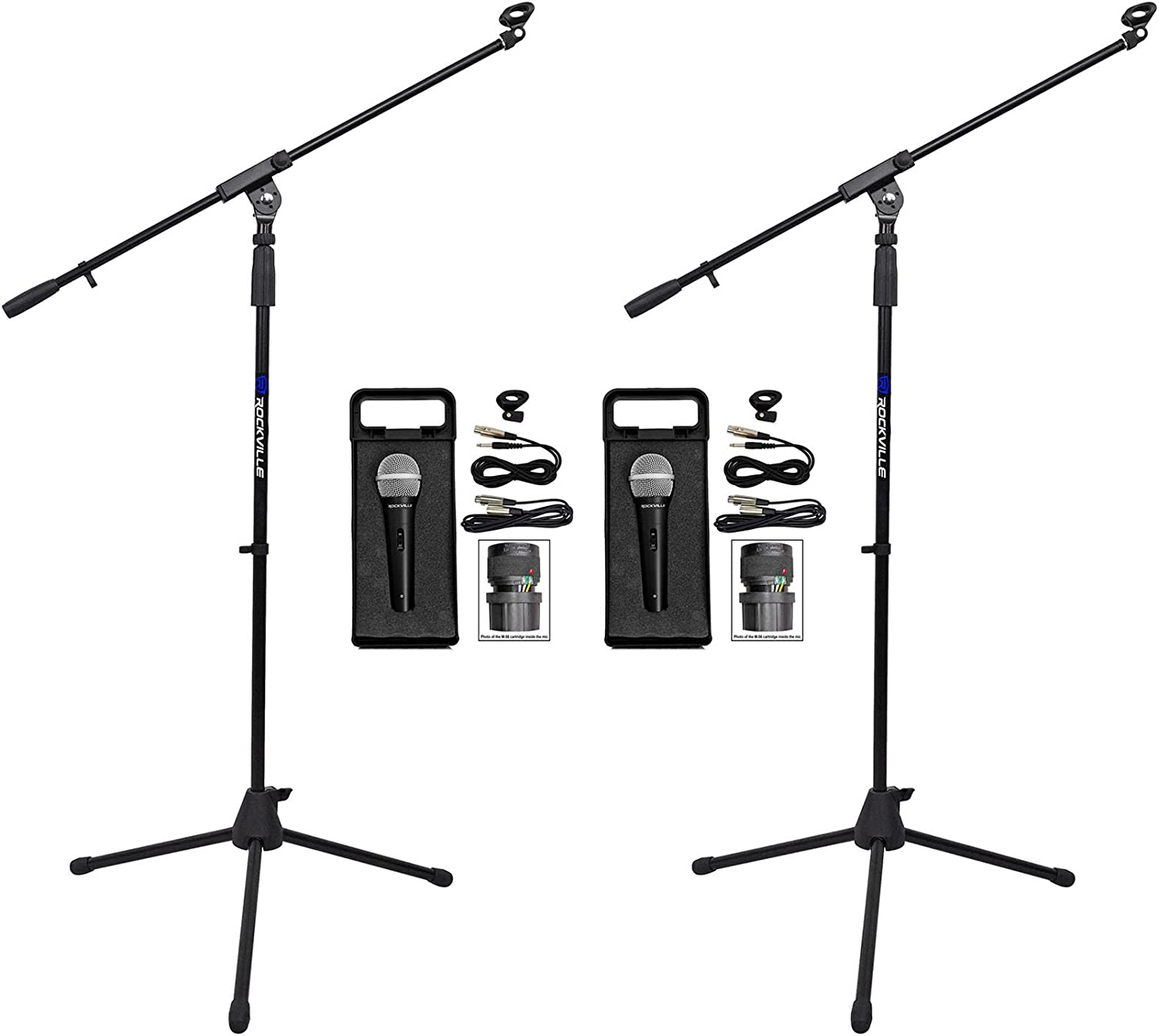 2) Rockville RMC-XLR High-End Metal Handheld Wired Microphones +Tripod Stand