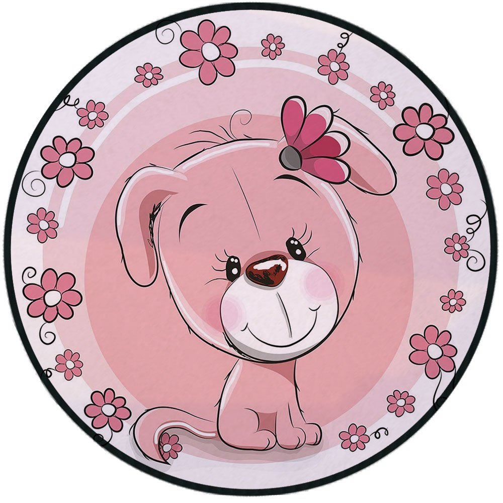 Printing Round Rug,Dog,Cute Little Puppy with Daisy Flowers Cheerful Adorable Pet Girls Room Decor Mat Non-Slip Soft Entrance Mat Door Floor Rug Area Rug For Chair Living Room,Light Pink Coral White