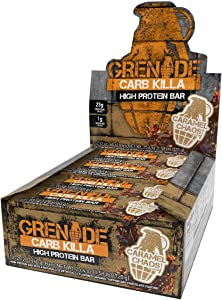 Grenade Carb Killa Protein Chocolate Bar | 23g High Protein Snack | High Protein Low Sugar | Nut Free Energy Bars | Caramel Chaos, 12 Pack