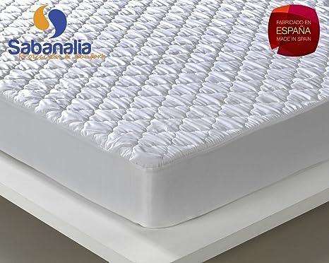 SABANALIA Protector de colchón Acolchado, Blanco, Cama 135-135 x 200 + 31: Amazon.es: Juguetes y juegos