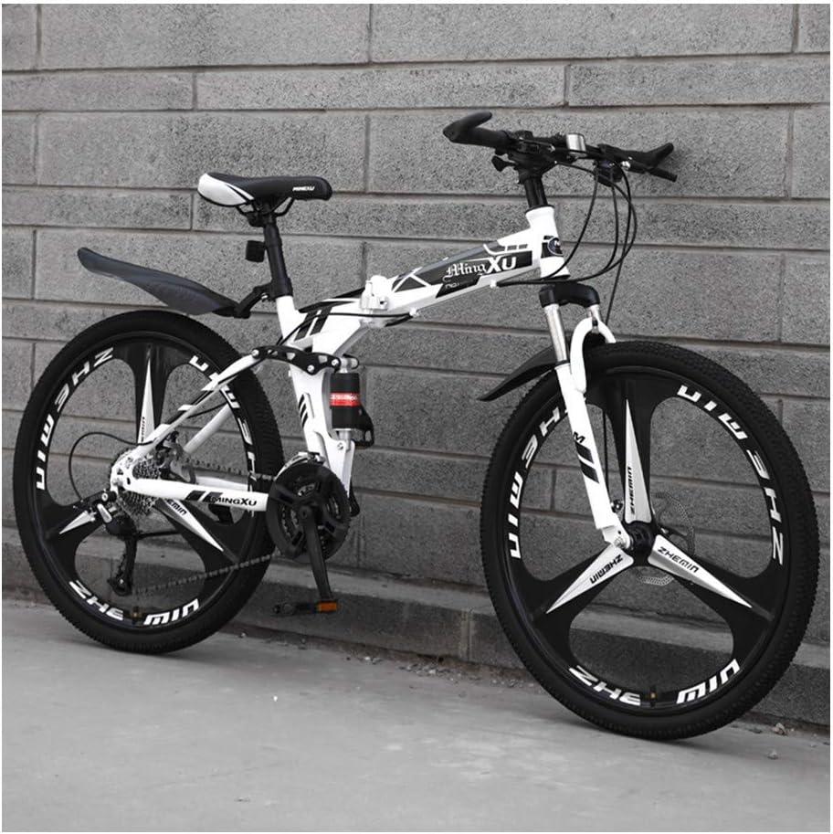 YCHBOS Mountain Bike Adulto, Bicicletas Montaña 24/26 Pulgadas Doble Suspension, 27 Velocidad Bicicleta Montaña Plegable, Marco de Acero de Alto Carbono, Doble Freno de DiscoD-24 Inch