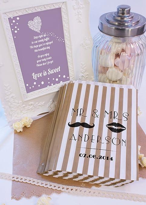 Bolsas de dulces de la boda personaliseitonline labios bigote dulces carrito favores de la boda confeti de compromiso: Amazon.es: Hogar