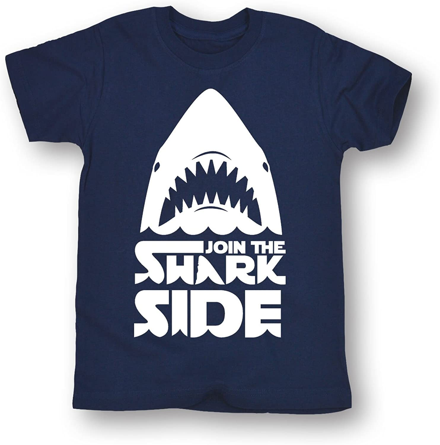 Join The Shark Side White Text T-Shirt-Funny Blue Tee for Boys