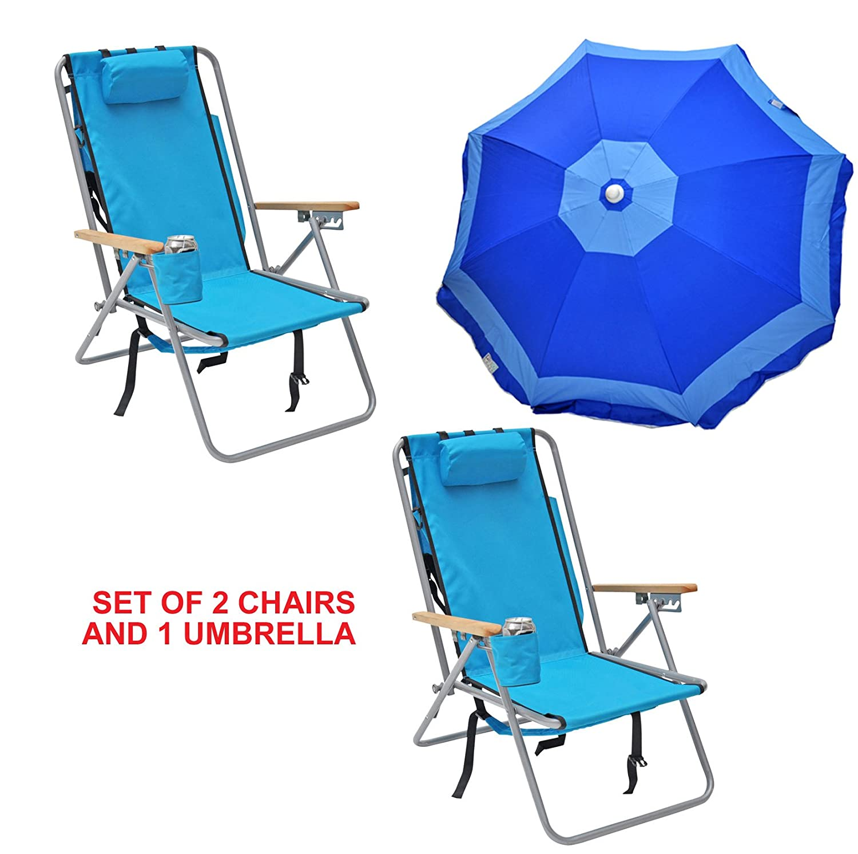 Rioのセット2デラックススチールバックパックBeach Chair And Camping Chair with 6 ftビーチ傘 B07DBC63XJ 2 Chairs, One 6ft Umbrella|アルバブルー (Aruba Blue)  アルバブルー (Aruba Blue)  2 Chairs, One 6ft Umbrella