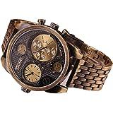 Oulm Luxury Watch Brand Men Full Steel 4 Small Dials Men Military Antique Clock Quartz Mens Watch (Bronze)