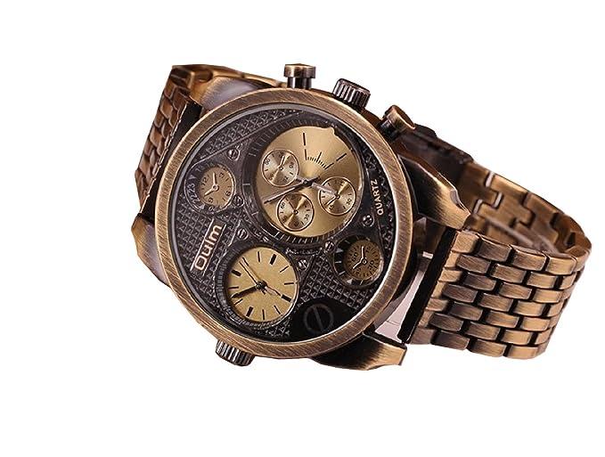 Amazon Com Oulm Luxury Watch Brand Men Full Steel 4 Small Dials Men