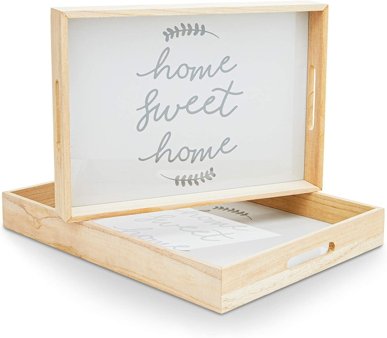 Wooden Serving Tray Set with Handles, Home Sweet Home (2 Pack)