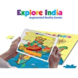 PLAYAUTOMA Explore India - India map Jigsaw Floor Puzzle with States and Capitals, Educational Augmented Reality Based Interactive Learning Game for Kids 5-99 Years