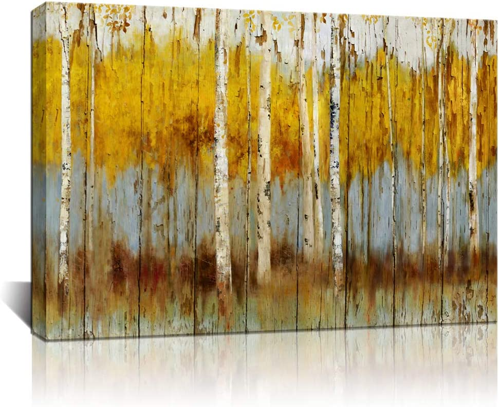 Biuteawal - Modern Aspen Canvas Art Decor Rustic White and Gold Birch Tree Painting Print on Canvas Abstract Autumn Scenery Picture for Living Room Bedroom Home Decorations Wall Decoration