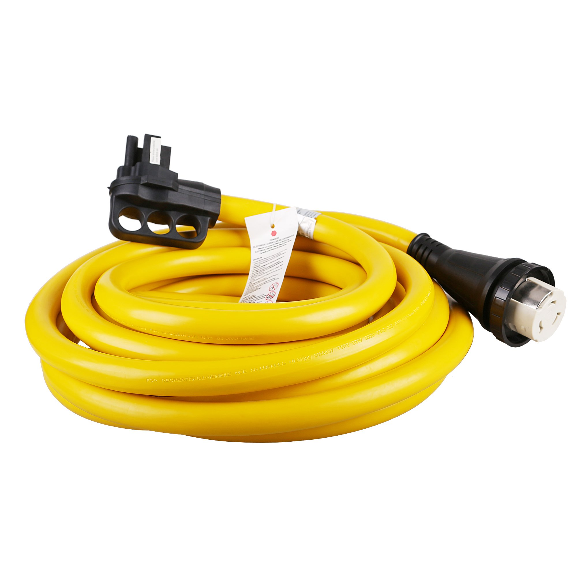 EPICORD RV Extension Cord 50Amp For Trailer Motorhome Camper with Grip Handle Plug, Locking Connector, 30F 125VT