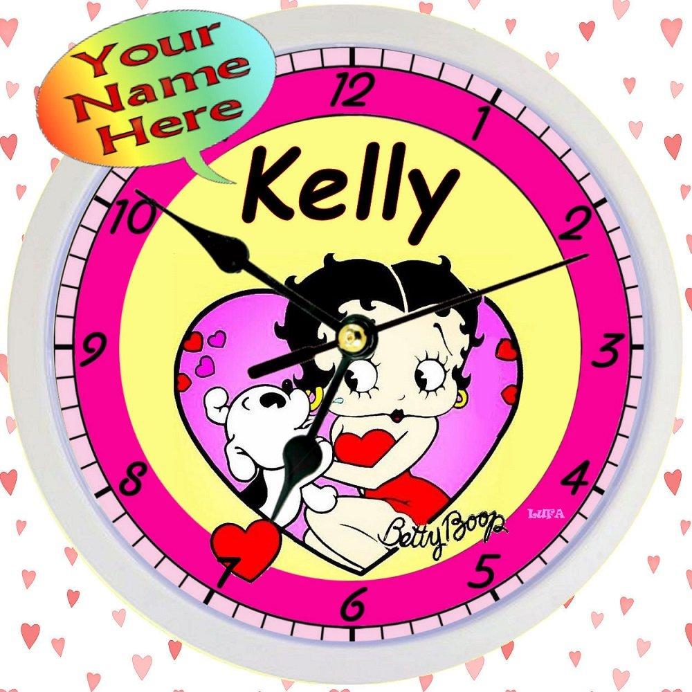 Amazon.com: Personalized Betty Boop Hearts Wall Clock (9\