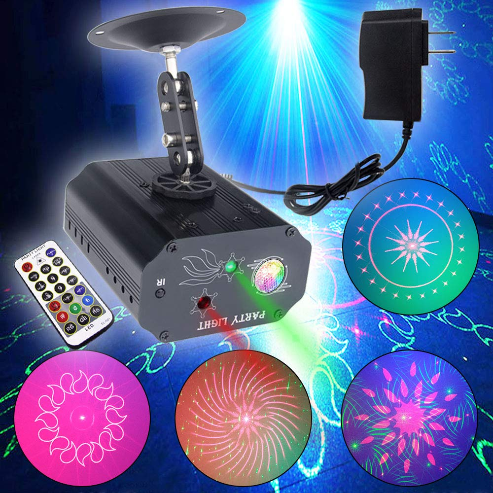 Party Lights, Dj Disco Lights, TONGK Strobe Stage Light Sound Activated Multiple Patterns Projector with Remote Control for Parties Bar Birthday Wedding Holiday Event Live Show Xmas Decorations Lights by TONGK