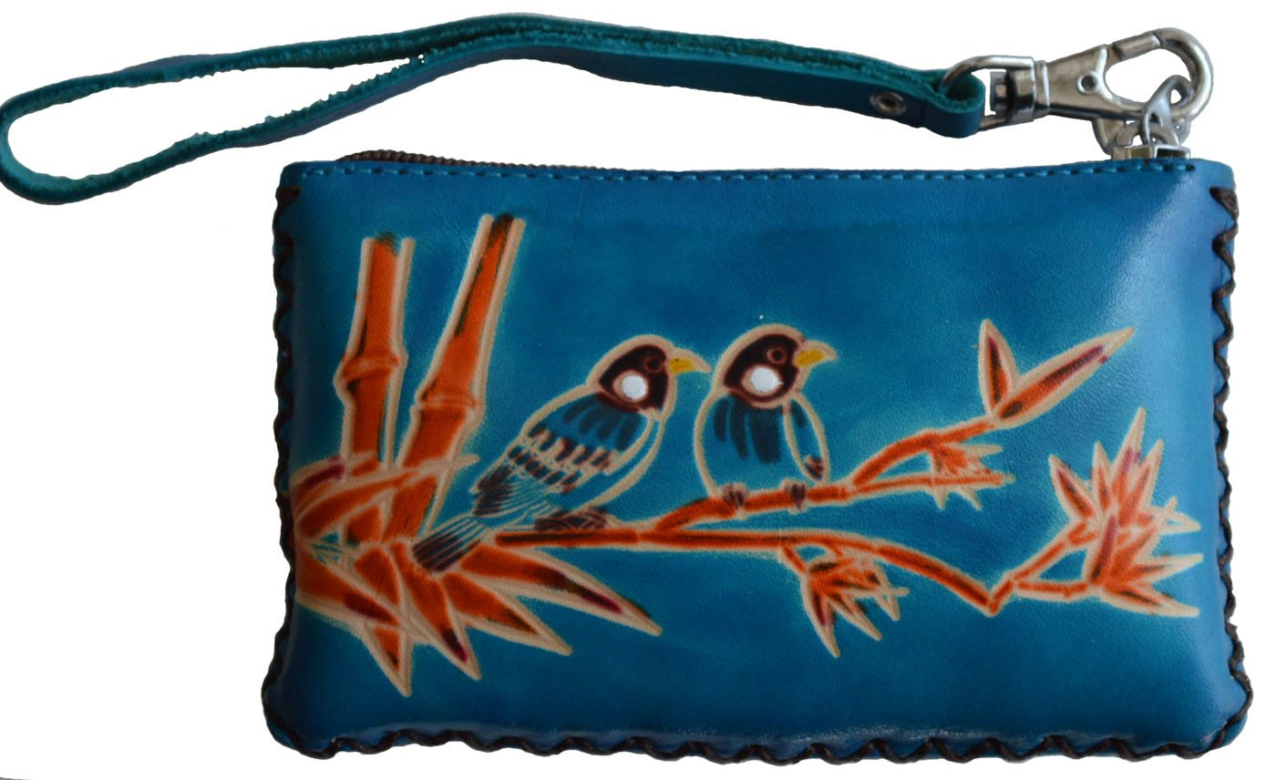 BPLeathercraft Leather Change Purse,Wristlet Wallet,Rectangle,Love Birds On Bamboo,More Color (Blue)