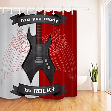 LB Heavy Metal Electric Guitar Ready To Rock Roll Shower Curtain Set Music Is Life