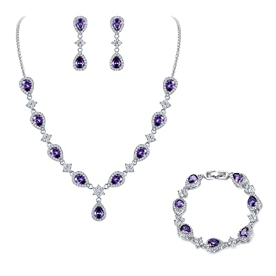 Beautiful Lilac And Crystal Floral Necklace A Complete Range Of Specifications Fashion Jewelry Necklaces & Pendants