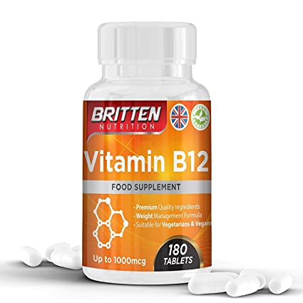 Vitamina B12 250 μg 180 tabletas (suministro de 6 meses) por Britten Nutrition