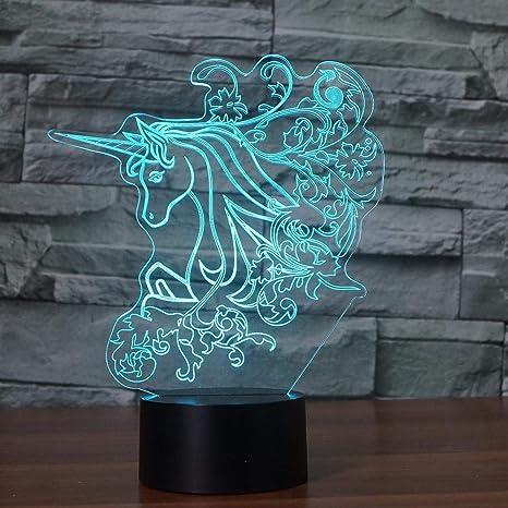3D Precioso Unicornio Lámpara de Mesa Chica Linda LED de Luz ...