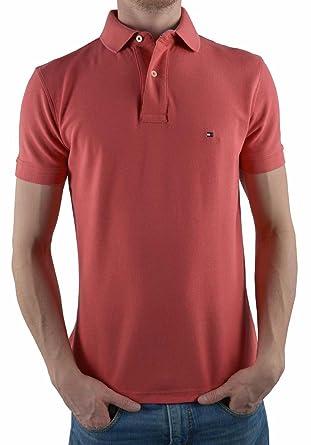 Tommy Hilfiger Rot Herren Polo Poloshirt PREMIUM Pique Slim Fit Figurbetont  , Größe Kleidung Erwachsene  b6b69067da