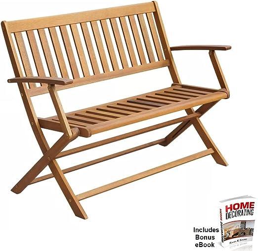Banco plegable de madera para jardín o al aire libre: Amazon.es: Jardín