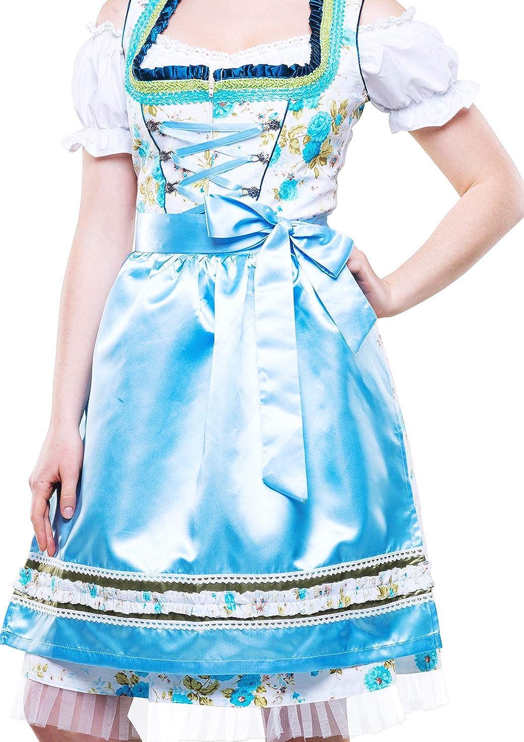 Bavarian Clothes ABVERKAUF Dirndl Damen Trachtenkleid Kleid 3 TLG mit Dirndlbluse Sch/ürze gebl/ümt Gr 34-54 in rot schwarz Gold t/ürkis blau pink violett gr/ün grau rosa Midi Oktoberfest