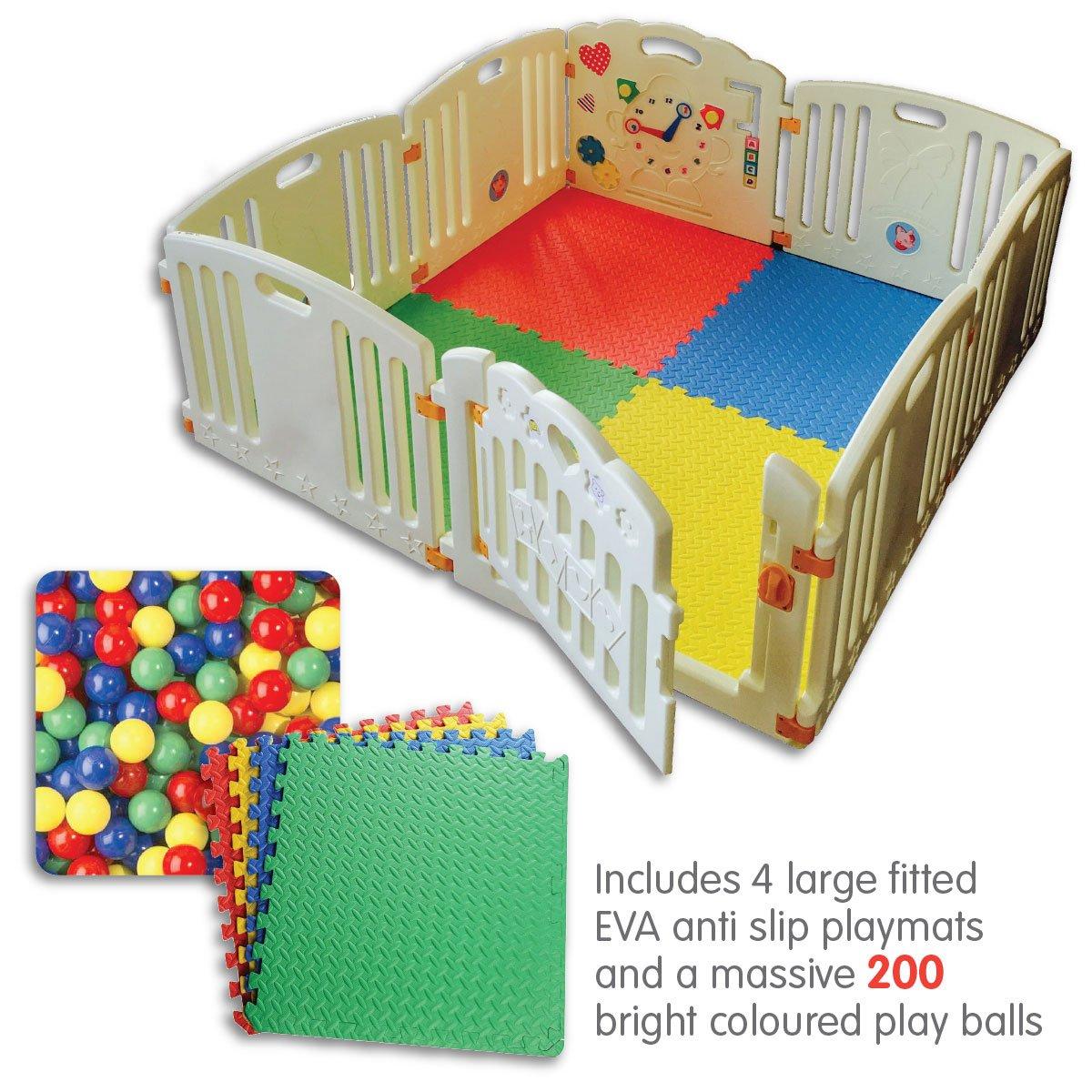 Venture All Stars Parco per bebè | 8unità XXL, tema: supereroi, Pannello per attività divertenti | Stuoie per pavimenti capaci e brillanti, fino a 200palle | Forte e duraturo–fatto in materiali non tossici