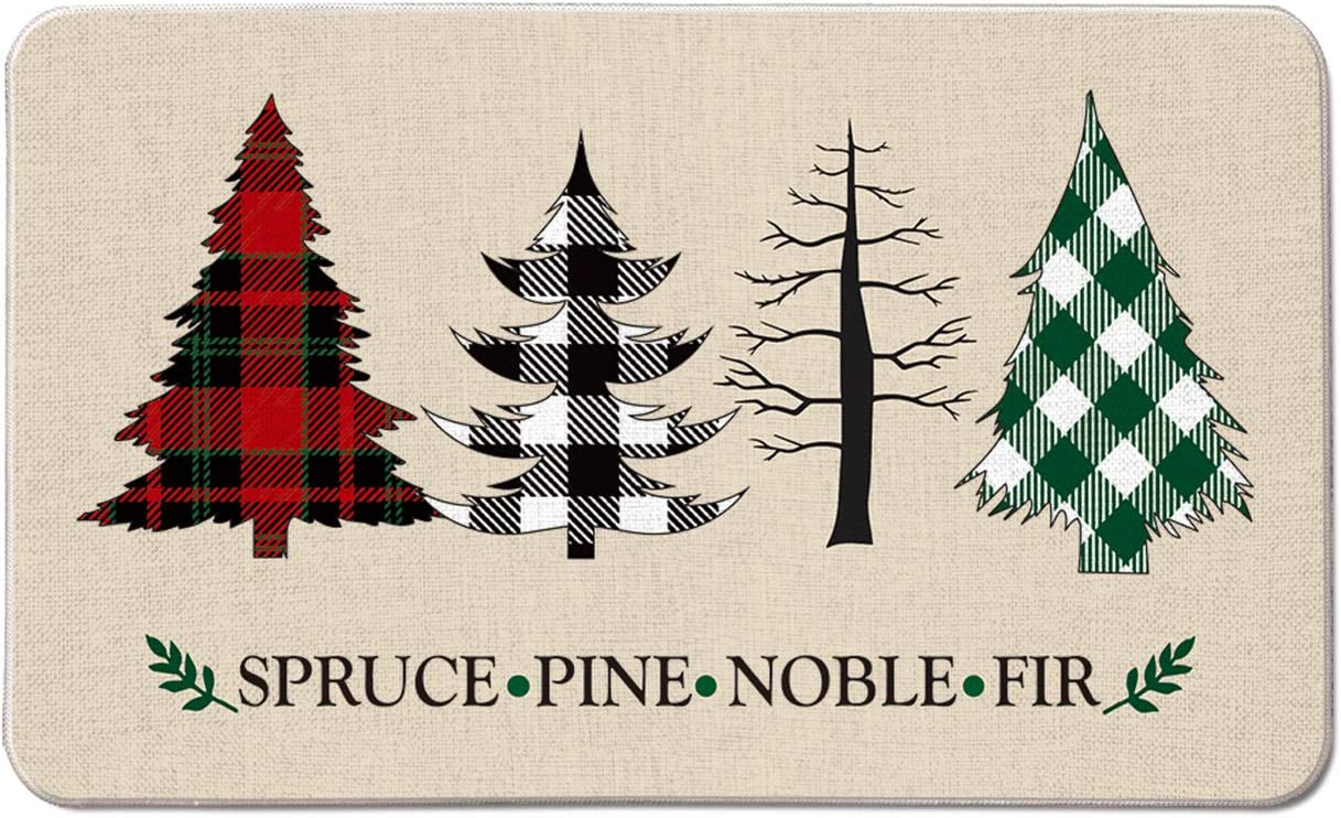 AVOIN Buffalo Plaid Christmas Trees Spruce Pine Noble Fir Decorative Doormat, 17 x 29 Inch Winter Holiday Non-Skid Low-Profile Floor Mat Switch Mat Indoor Outdoor Home Garden