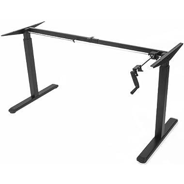 VIVO Black Manual Height Adjustable Stand Up Desk Frame Crank System Ergonomic Standing 2 Leg Workstation (DESK-V101M)