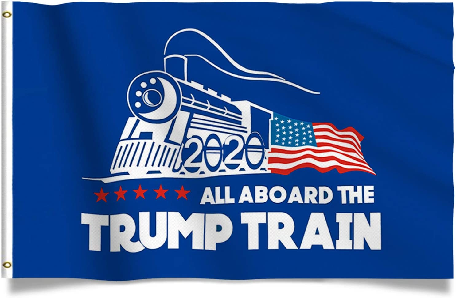 Kaiyuan Dynasty Trump Flag Train Donald Trump Flags Support for President 2020 Banner - All Aboard The Trump Train 3 x 5 feet with Two Brass Grommets