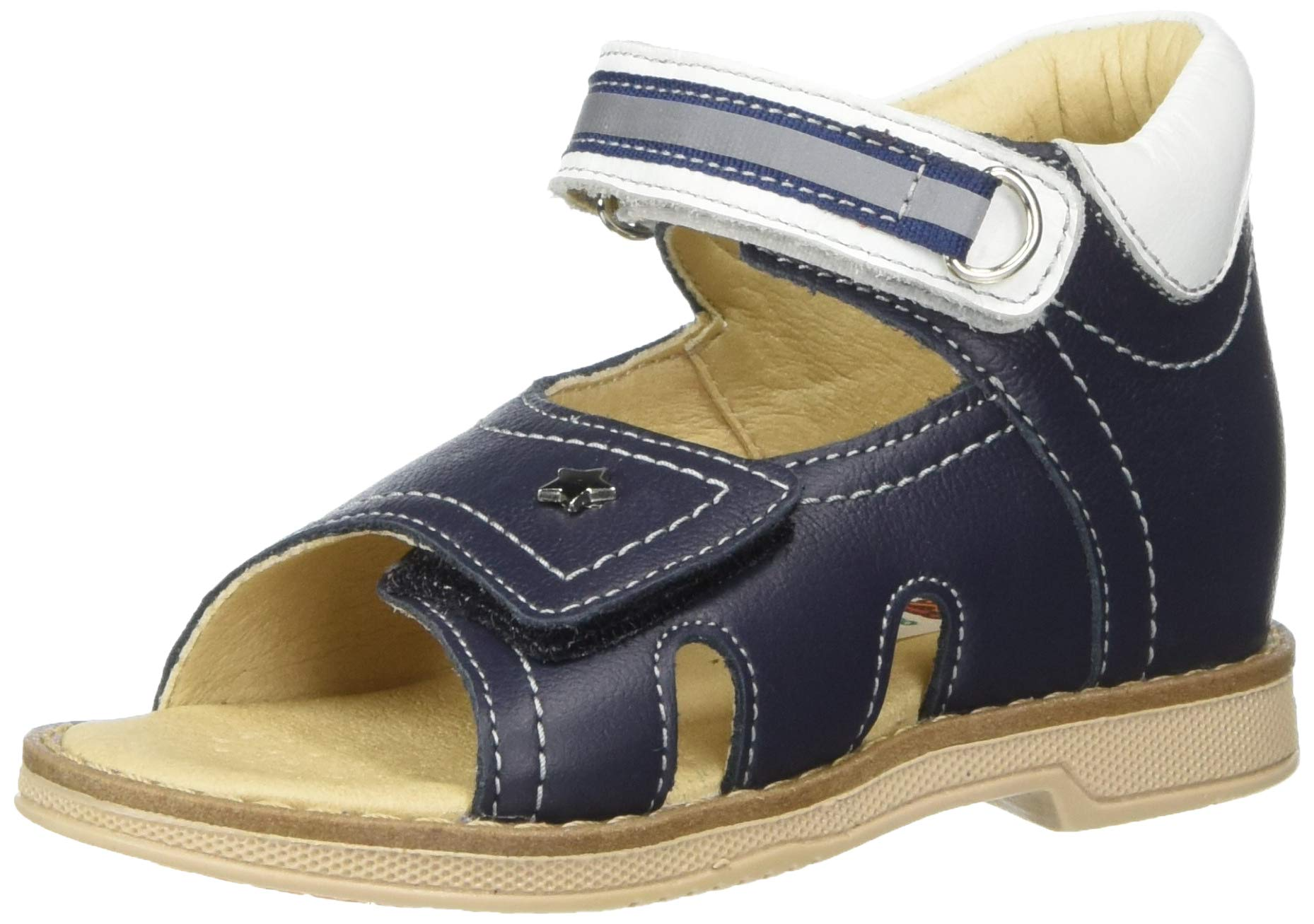 Orthopedic Kids Shoes for Boys and Girls TW-131 - Genuine Leather Sandals with 2 Fasteners, Non-Slip Amortizing Sole and Thomas's Heel (8, Dark Blue) by Baby Orthopedic Shoes
