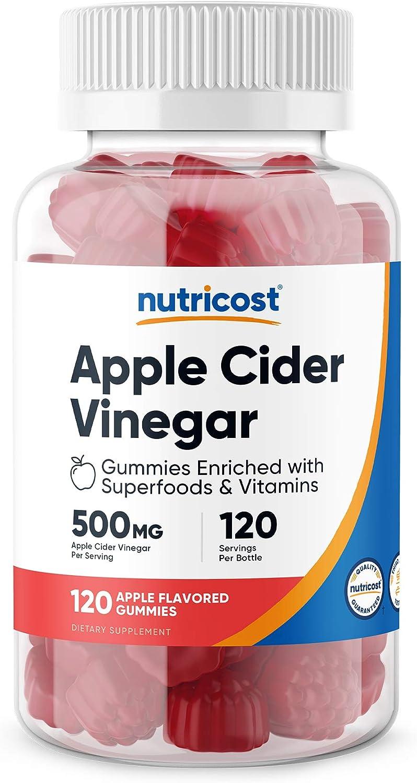 Nutricost Apple Cider Vinegar 500mg, 120 Gummies, Apple Flavored - Gluten Free, Non-GMO, No Corn Syrup