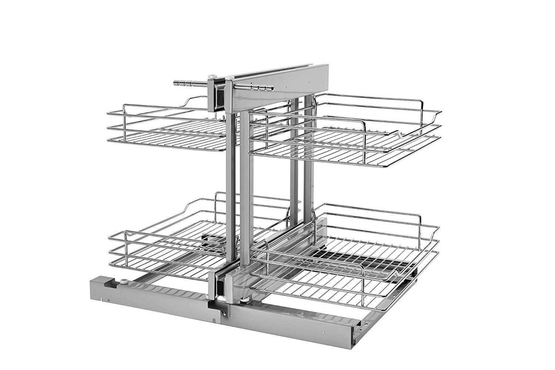 Rev-A-Shelf - 5PSP-15-CR - 15 in. Blind Corner Cabinet Pull-Out Chrome 2-Tier Wire Basket Organizer by Rev-A-Shelf
