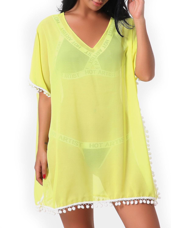 d579b560f6 OGNEE Women Beach Cover up Bathing Suit Bikini Swimsuit Swimwear Chiffon  Dress Black/)