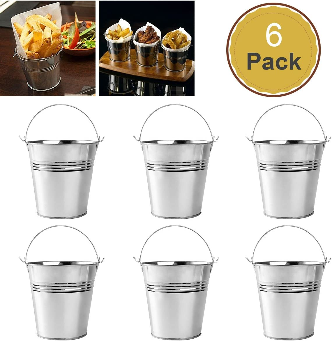 OUNONA 6pcs 10.5x7.2x10.5cm Mini Cubo del Metal de la hojaldra Cubos de hojalata de Las fritadas del francés
