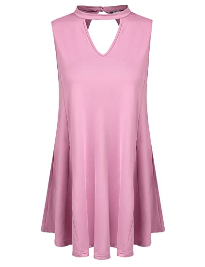 cffc888926a Zeagoo Women s Sleeveless Solid Comfy Summer Tunic Tand Top with Flare Hem