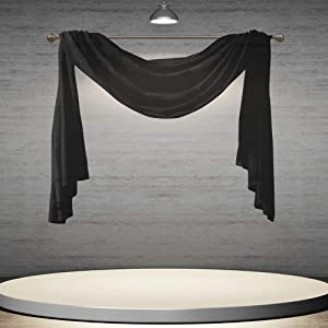 DONREN Luxury Soft Sheer Curtains Scarf for Windows - Semi Voile Window Scarf Valance,52 Inches Wide by 144 Inches Long (1 Panel,Jet Black)